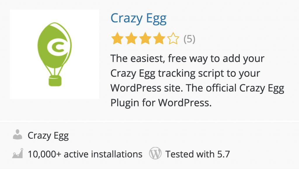 Plugin de Crazy Egg en el directorio de WordPress