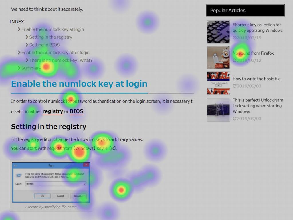 Captura de pantalla de un heatmap realizado con el plugin Aurora Heatmap