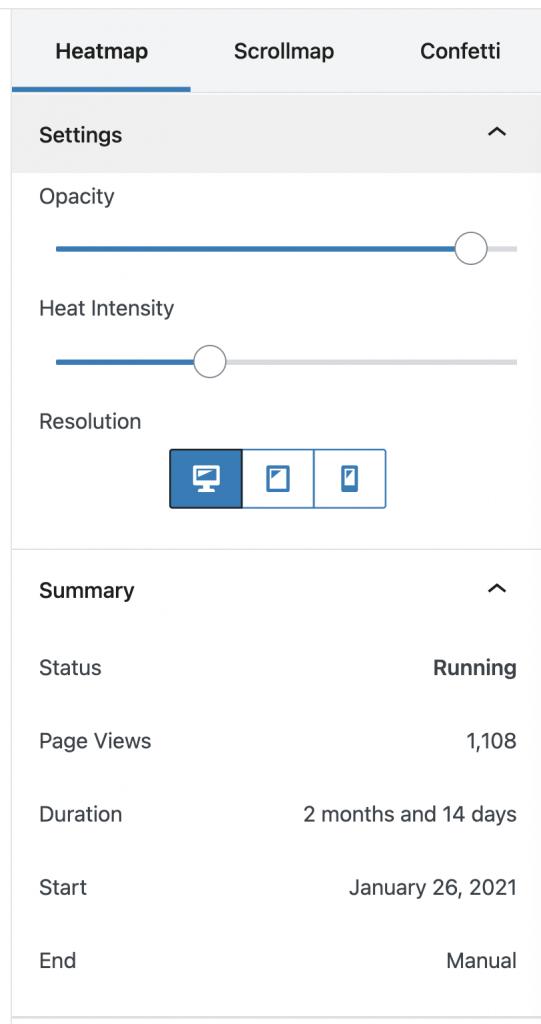 Captura de pantalla de los filtros de los heatmaps de Nelio A/B Testing