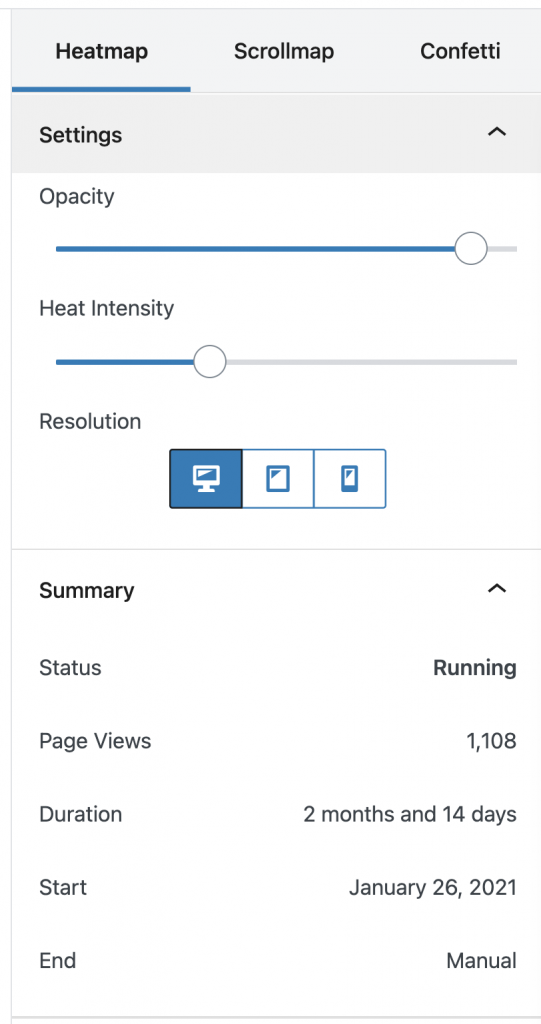 Screenshot of the Nelio A B Testing heatmap filters