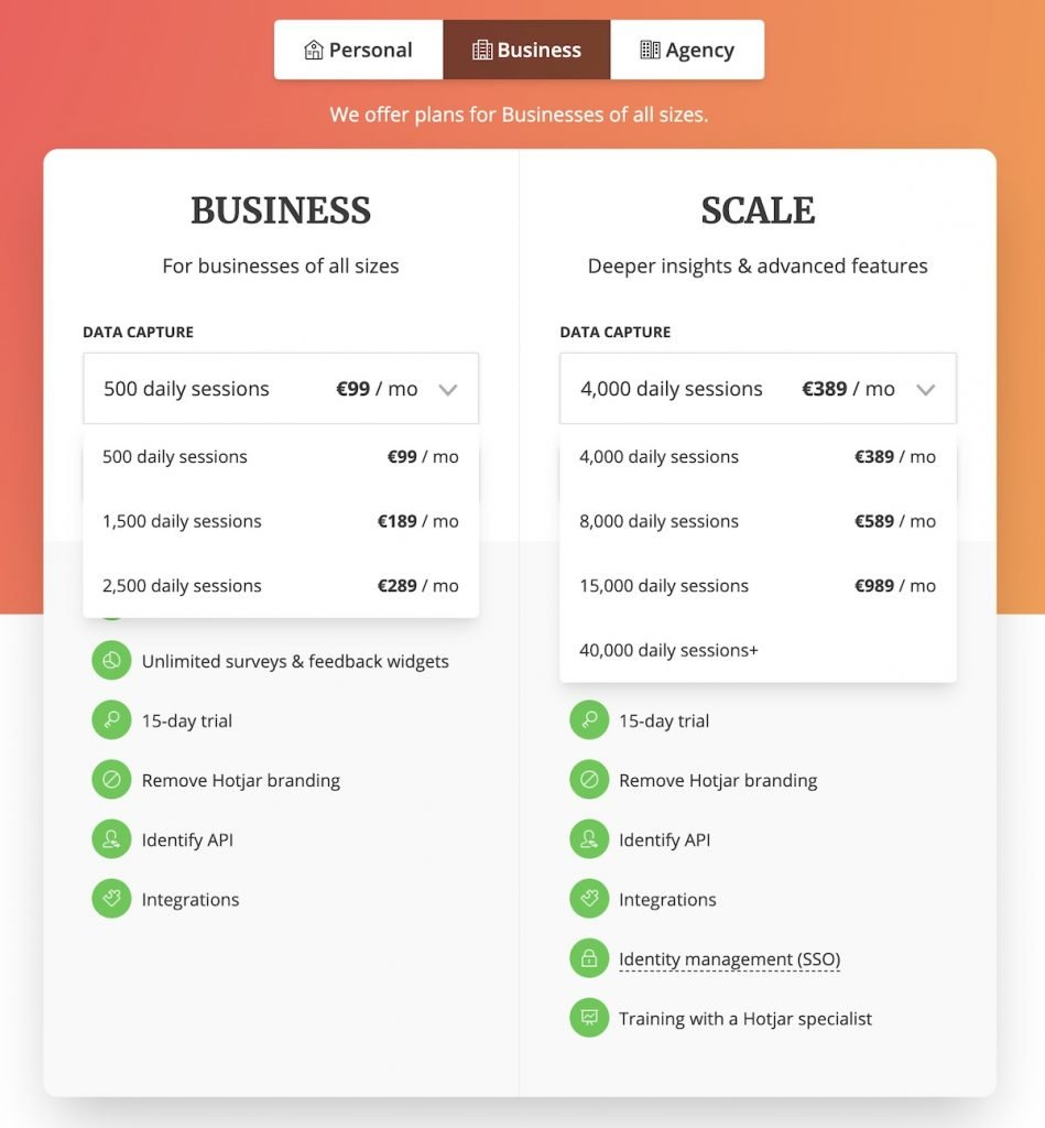 Screenshot of the plans and prices available for the Hotjar heatmaps service