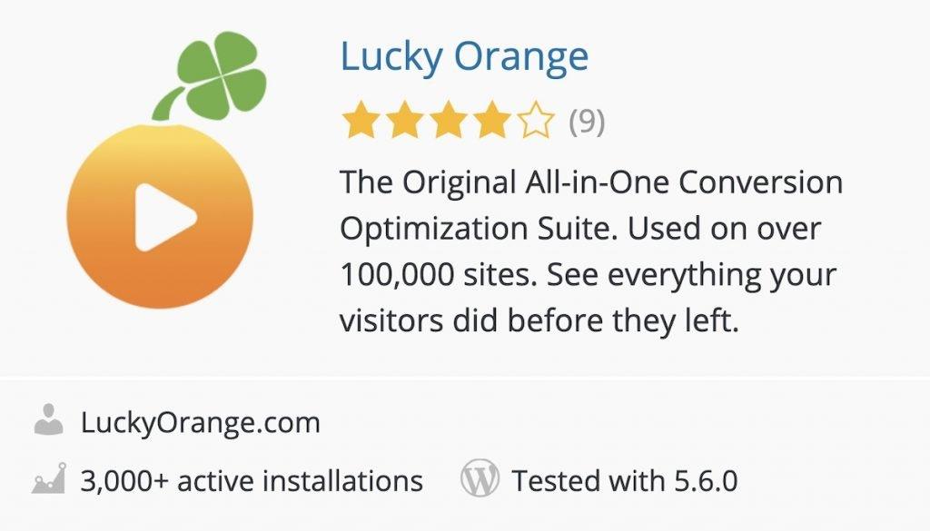 Lucky Orange plugin in the WordPress directory