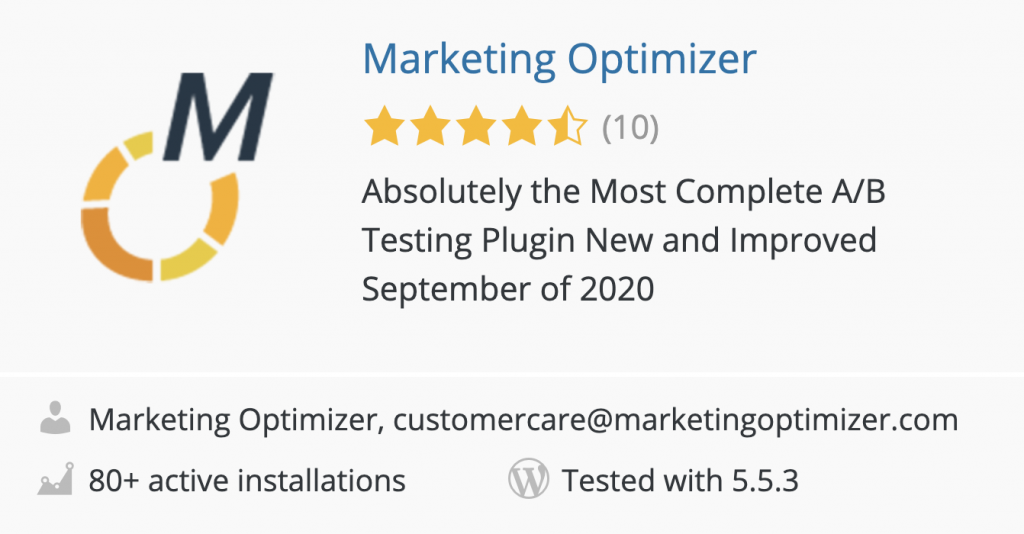 Marketing Optimizer plugin in the WordPress plugin directory