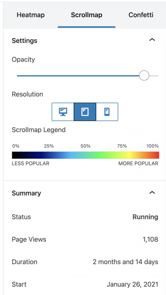 Captura de pantalla de los filtros de los scrollmaps de Nelio A/B Testing