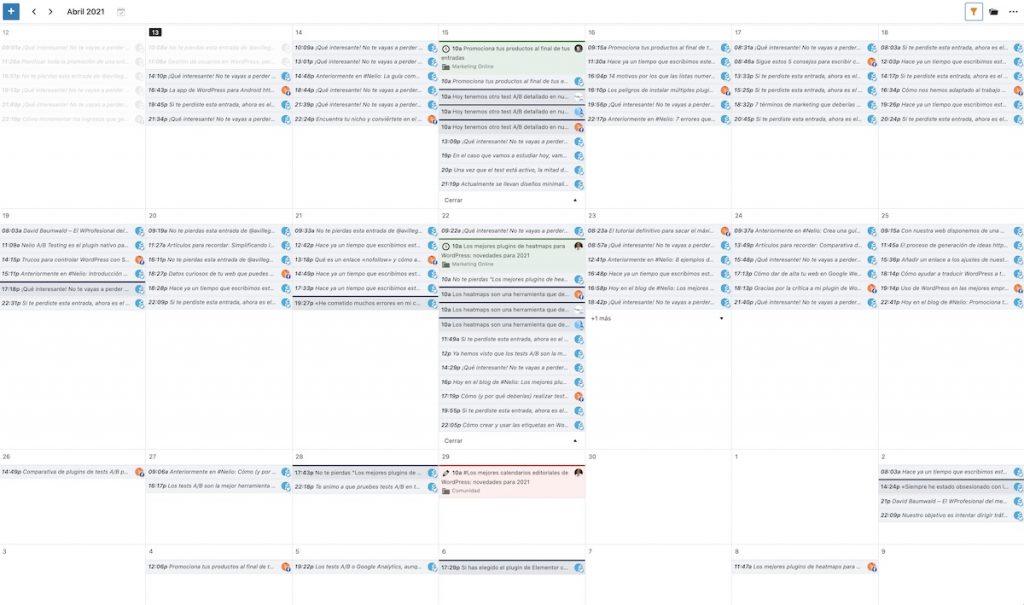 Screenshot of the editorial calendar of Nelio Content