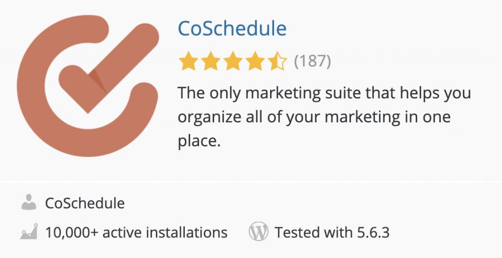 Screenshot of the CoSchedule plugin in the WordPress plugin directory