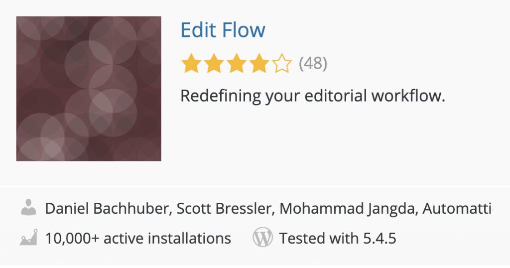 Screenshot of the Edit Flow plugin in the WordPress plugin directory