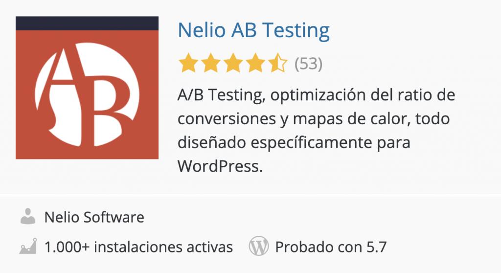 Nelio A/B Testing en el Directorio de plugins de WordPress