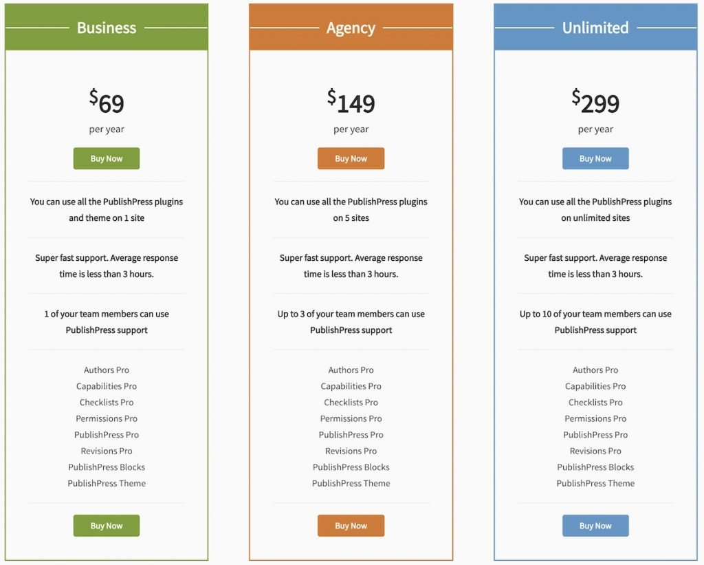 Screenshot of PublishPress plans and pricing