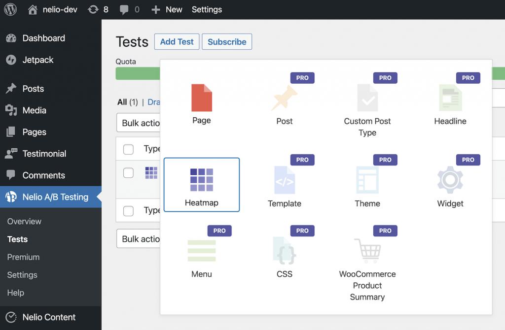 Captura de pantalla de la selección del tipo de test a crear con Nelio A/B Testing