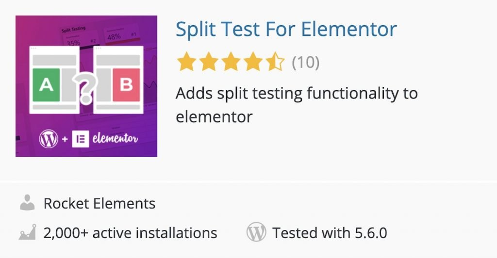 Plugin Split Test for Elementor in the WordPress plugins directory