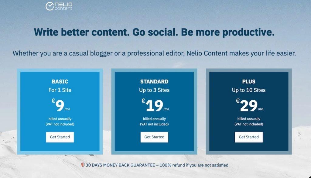 Captura de pantalla de los planes de Nelio Content mostrados en variaciones de color azul