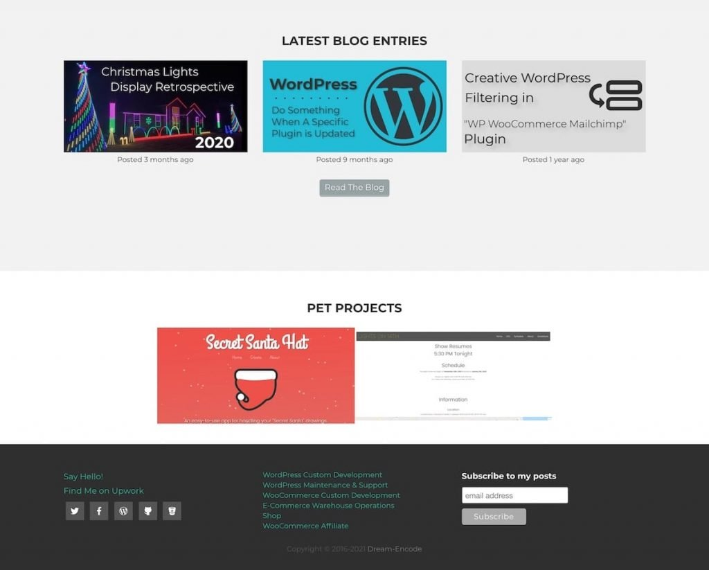 Partial screenshot of the Dream Encode website