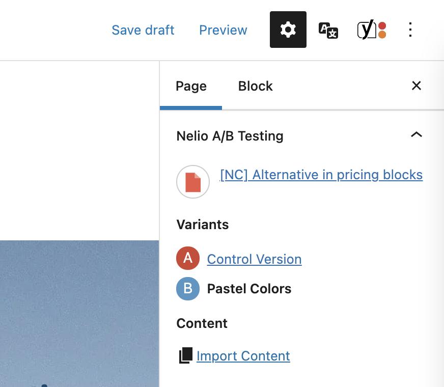 Captura de pantalla de las funcionalidades de edición de una variante de un test A/B