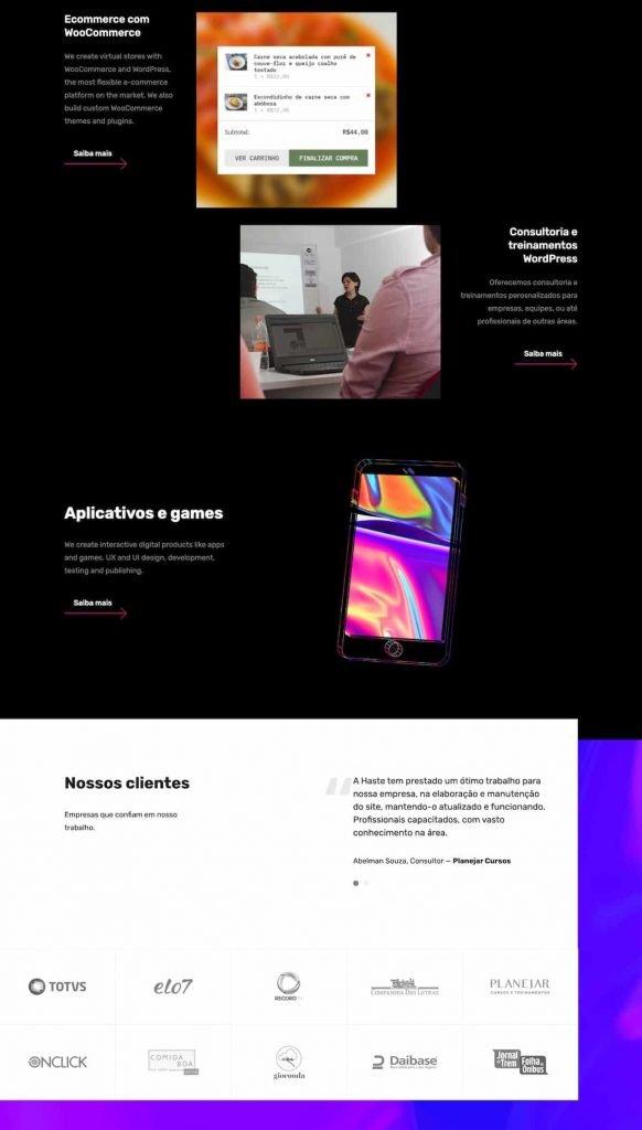 Partial screenshot 2 of the Haste Design website