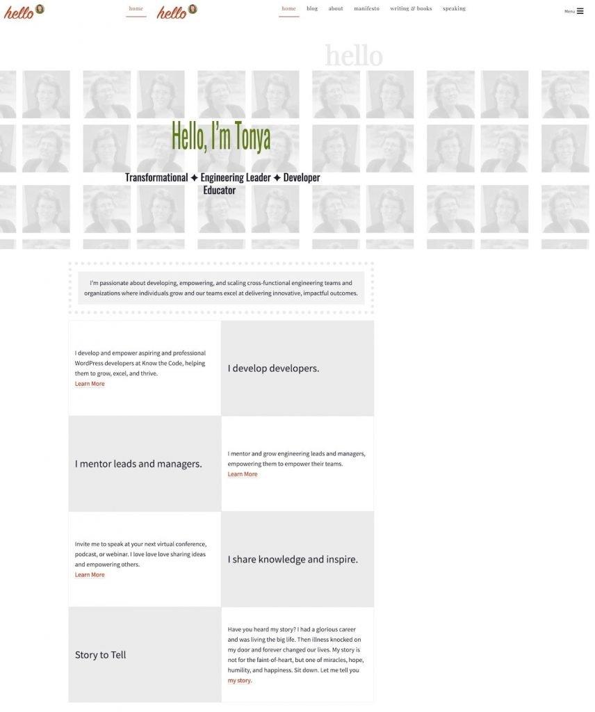 Partial screenshot of Tonya Mork's website