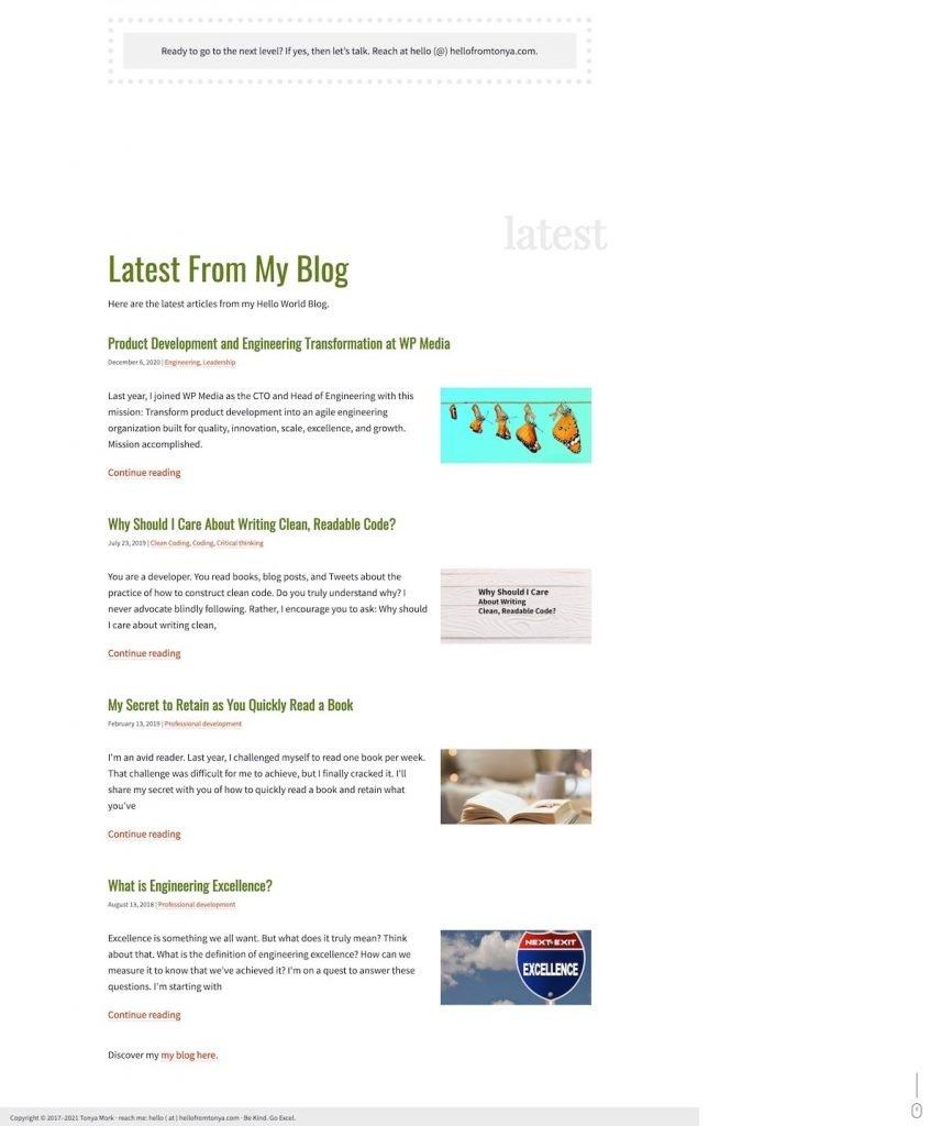 Partial screenshot 2 of Tonya Mork's website