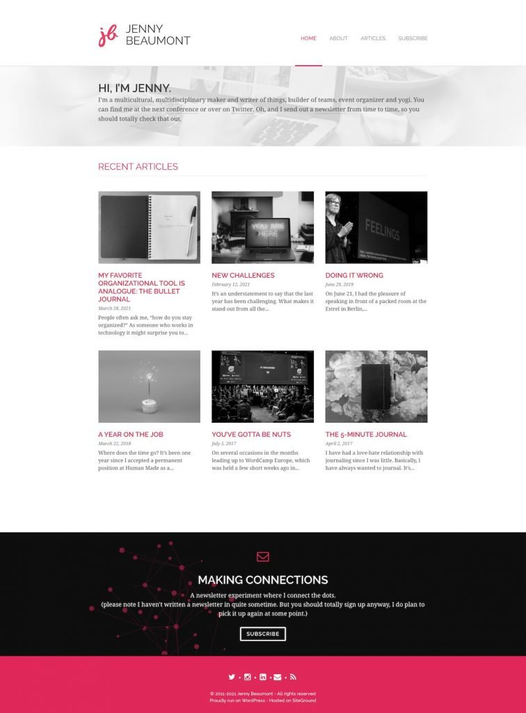 Jenny Beaumont's website screenshot