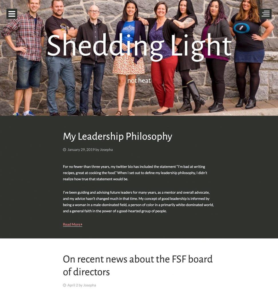 Screenshot of Josepha Haden's blog