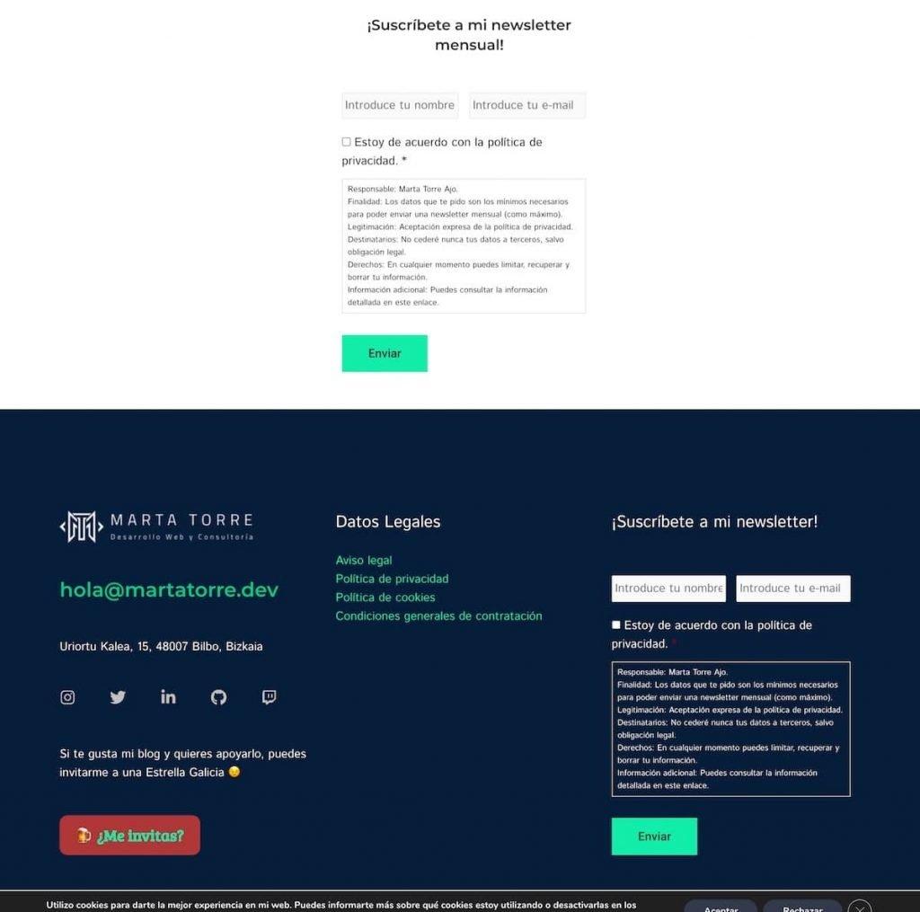 Partial screenshot of Marta Torre's website