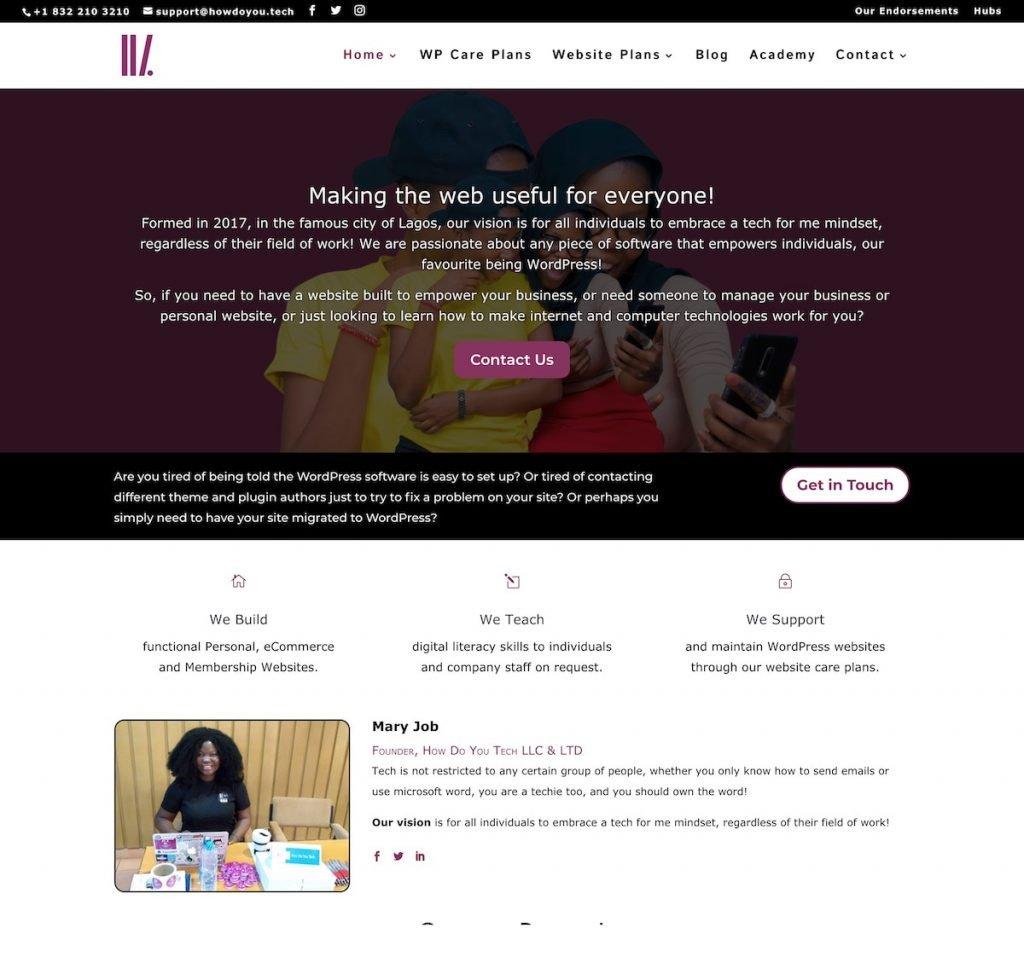 Partial screenshot 1 of Mary Job's website