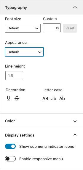 Navigation menu properties