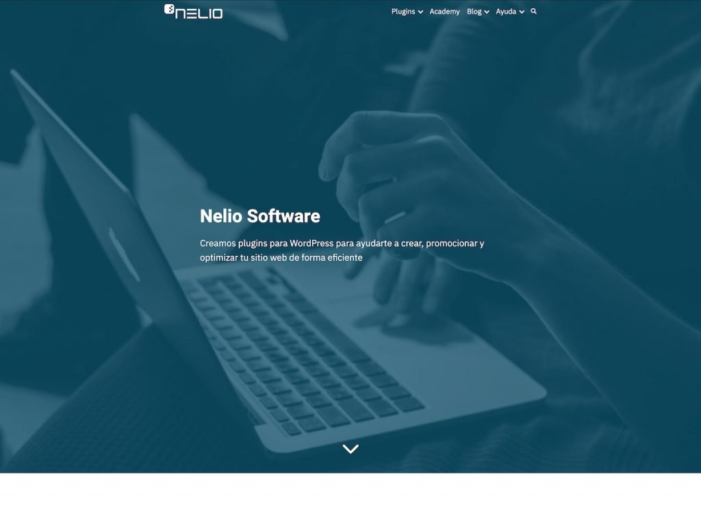 Partial screenshot of the landing page of Nelio 1's website