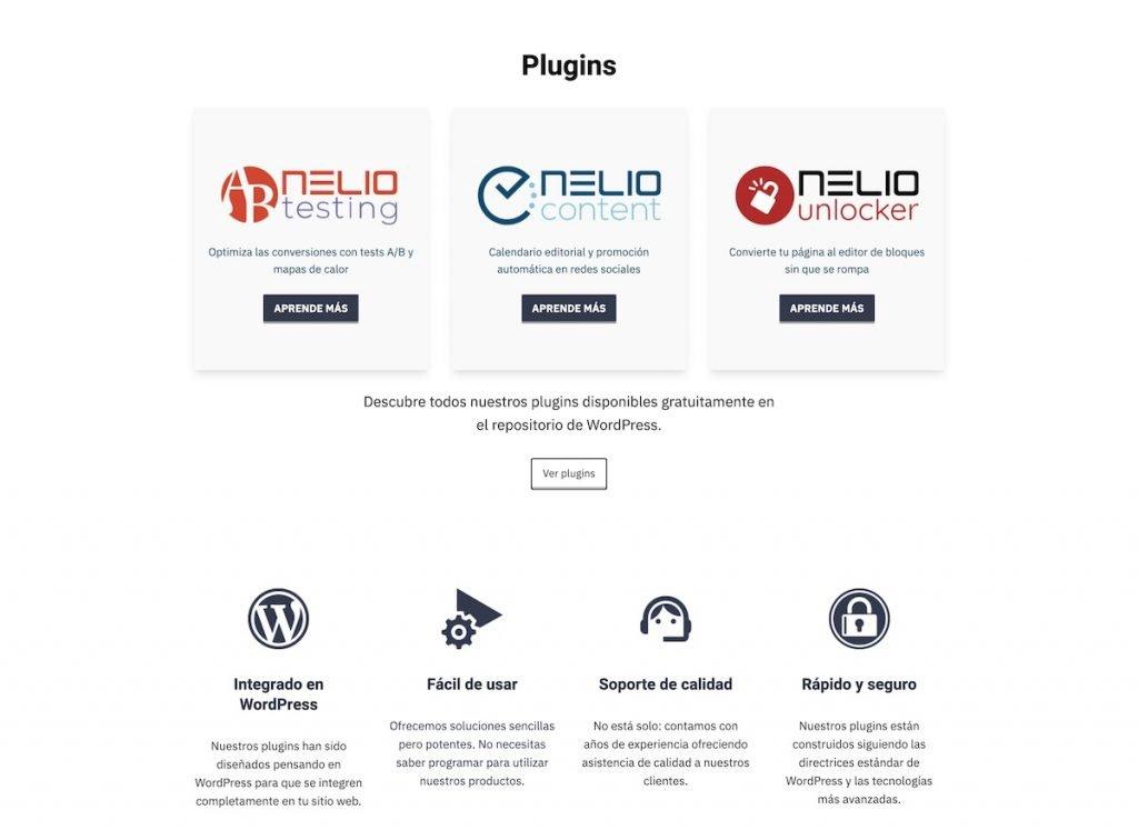 Partial screenshot of the landing of Nelio's website in Spanish 2