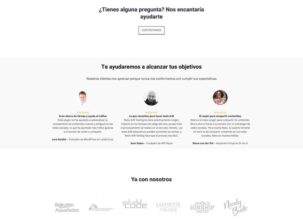 Partial screenshot of the landing of Nelio's website in Spanish 3
