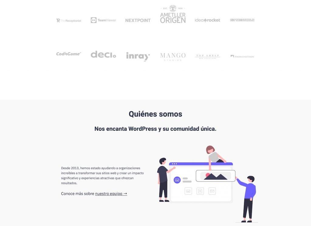 Partial screenshot of the landing of Nelio's website in Spanish 4