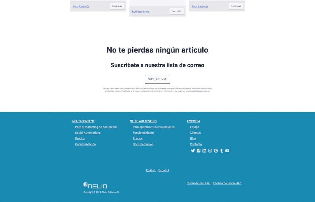 Partial screenshot of the landing of Nelio's website in Spanish 6