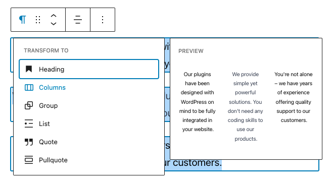 Screenshot of Paragraph to Column Transformation Preview