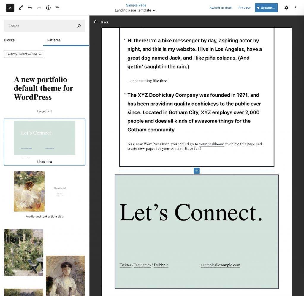 Add new WordPress patterns in the template editor