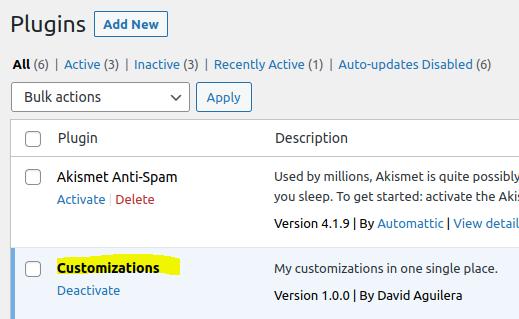 Captura de pantalla del plugin de personalizaciones en la lista de plugins de WordPress