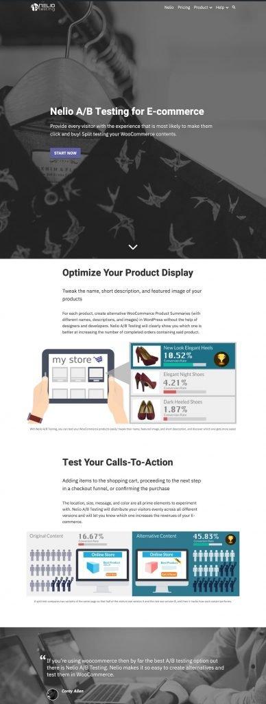 Captura de una sección de la landing page de Nelio A/B Testing for E-commerce