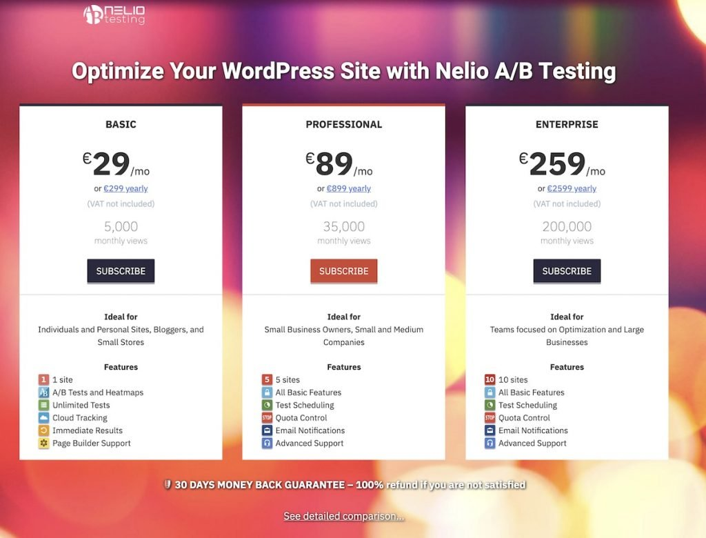 Screenshot of the first section of the Nelio A/B Testing pricing page