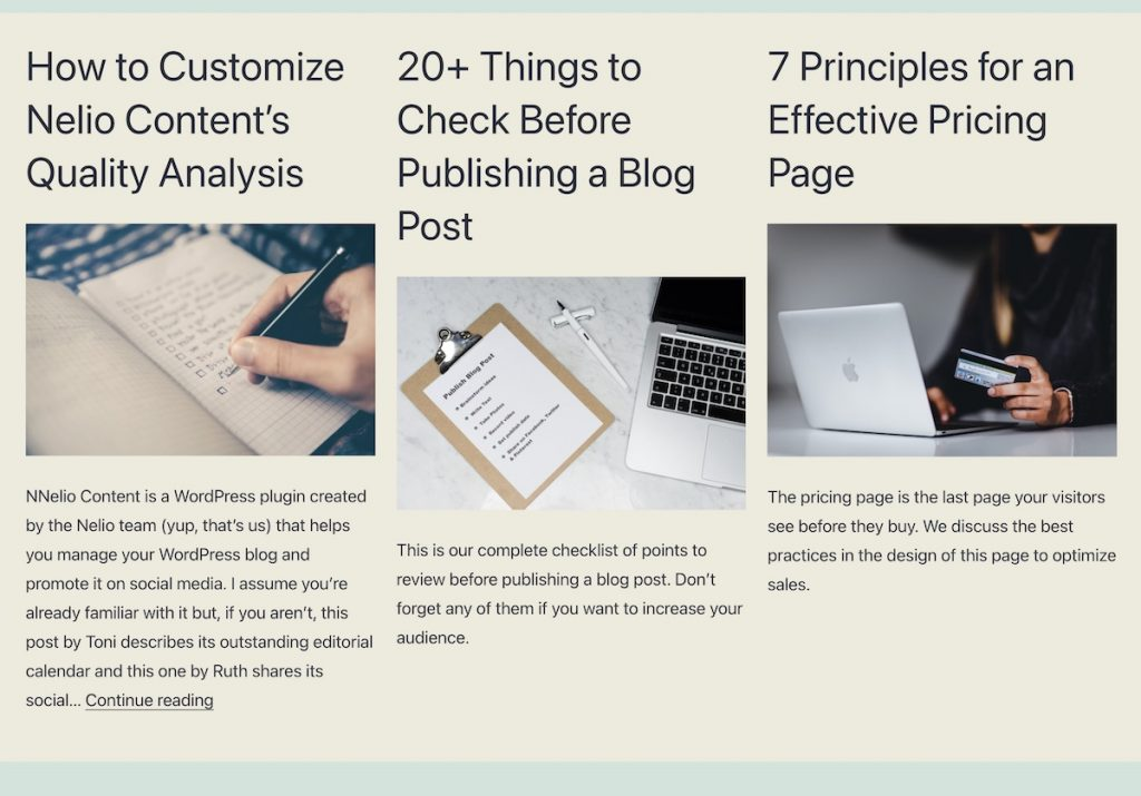 Section of a page created with the content listing block