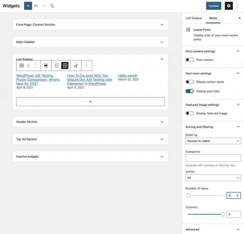 Adding a theme block in a widget area