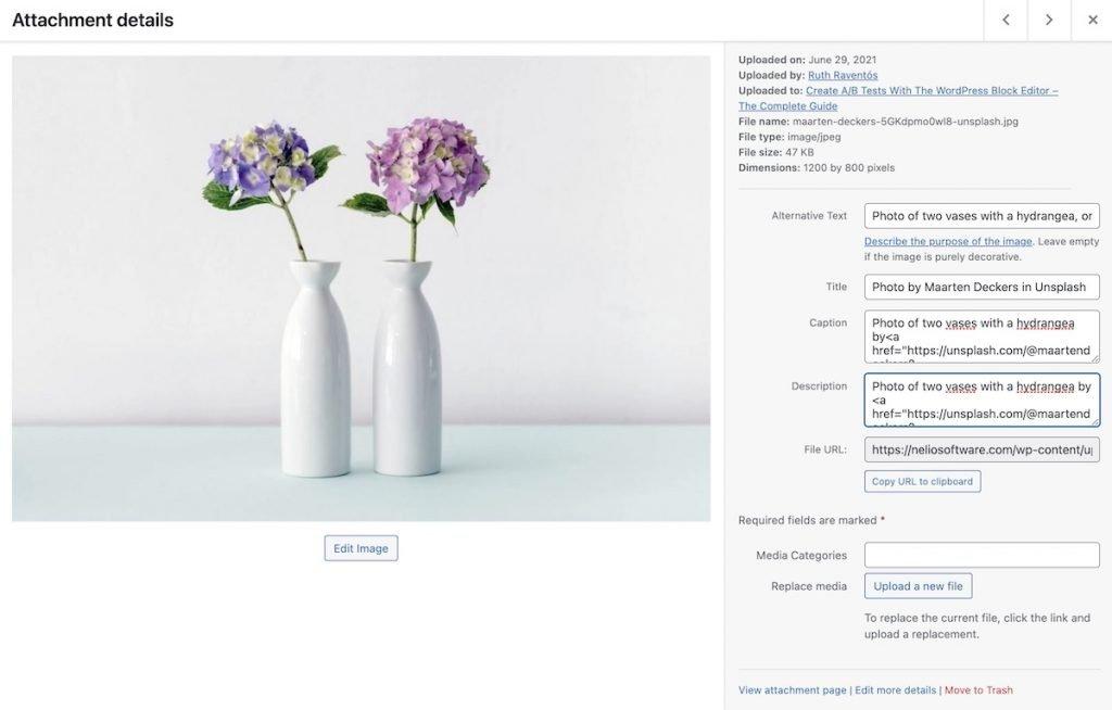 Detalles de adjunto de una imagen de la biblioteca de medios de WordPress