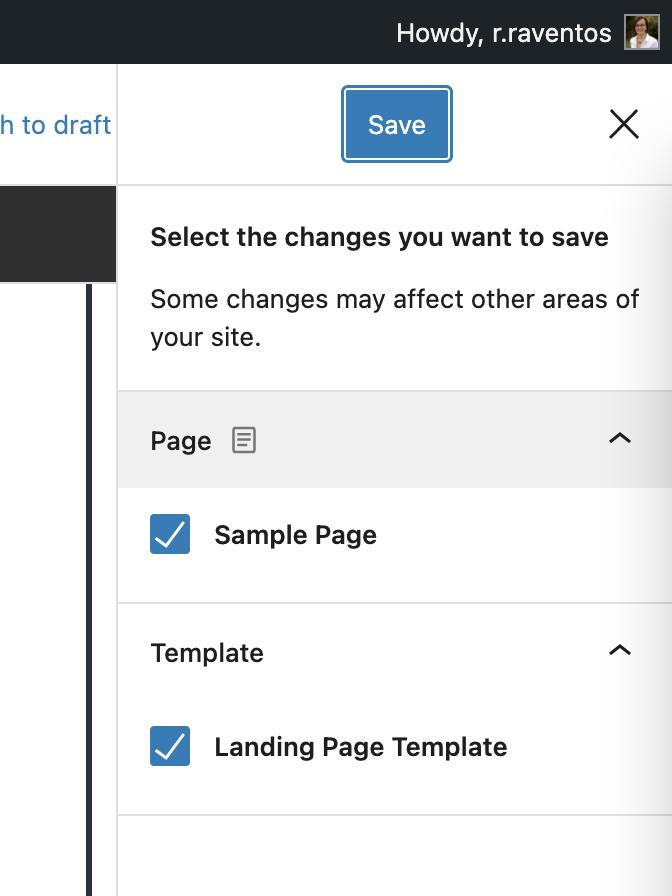 Save WordPress template