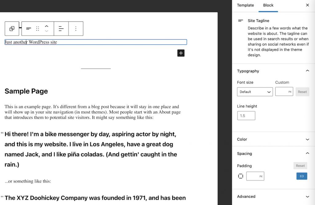 Editing the site slogan block in WordPress