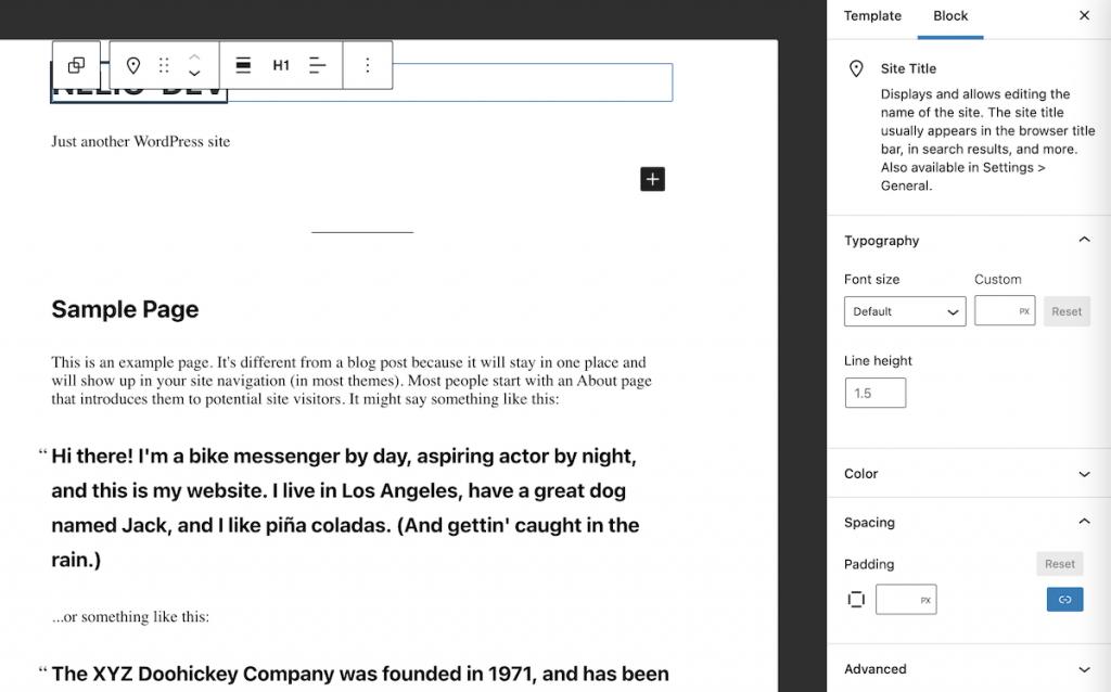 Editing the site title block in WordPress