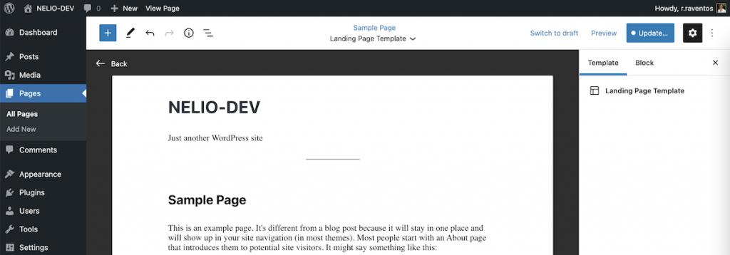 WordPress template editor