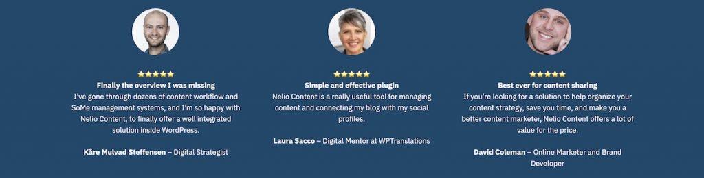 Screenshot of Nelio Content testimonials displayed on the Nelio Content pricing page