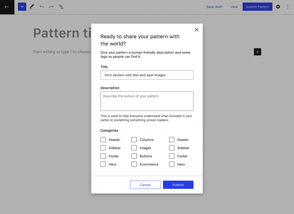 Mockup of the submission of a pattern to review and publication in the pattern directory