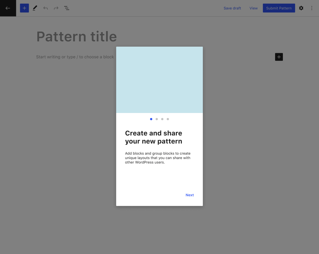 Pattern editor welcome popup mockup