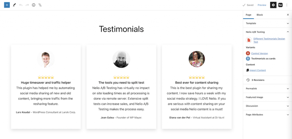 Testimonials section displayed with cards