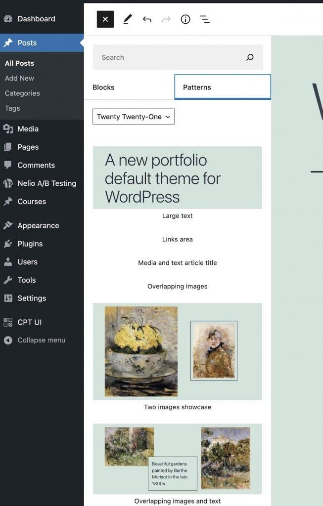 Inserting a block pattern in the WordPress editor