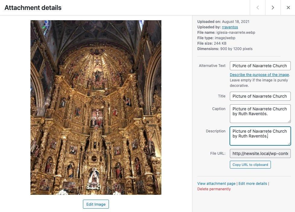 Imagen en formato WebP en la biblioteca de medios