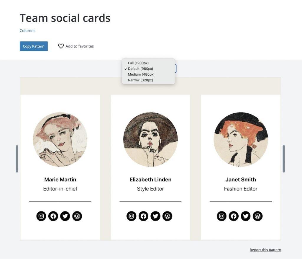 WordPress Team social cards directory pattern